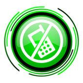 No phones green circle glossy icon — Stock Photo