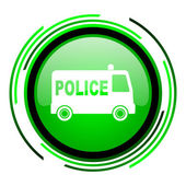 Police green circle glossy icon — Stock Photo