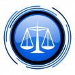 Justice circle blue glossy icon — Stockfoto