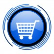 Stock Photo: Shopping cart circle blue glossy icon