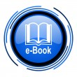 Stock Photo: E-book circle blue glossy icon