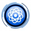 Stock Photo: Atom circle blue glossy icon