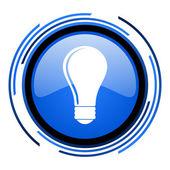 Lâmpada ícone brilhante do círculo azul — Foto Stock