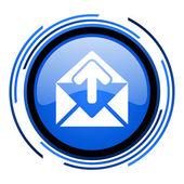 ícone do mail círculo azul brilhante — Foto Stock