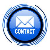 Entrar em contato com o ícone de círculo azul brilhante — Foto Stock