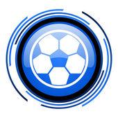 Icono brillante fútbol círculo azul — Foto de Stock