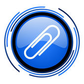Paper clip circle blue glossy icon — Stock Photo