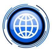 Globe circle blue glossy icon — Stock Photo