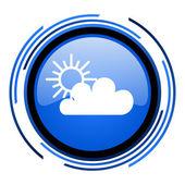 Previsión del tiempo icono brillante círculo azul — Foto de Stock