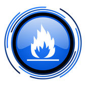 Flames circle blue glossy icon — Stock Photo