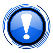 Exclamation sign circle blue glossy icon — Stock Photo