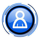Account circle blue glossy icon — Stok fotoğraf