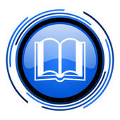 Icono brillante círculo azul del libro — Foto de Stock