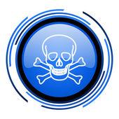 череп круглый голубой глянцевый значок — Стоковое фото