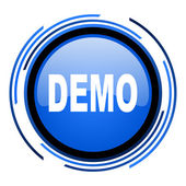 Demo circle blue glossy icon — Stock Photo
