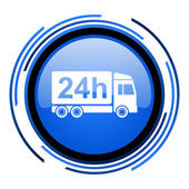 Delivery 24h circle blue glossy icon — Stock Photo