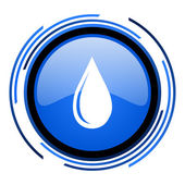Water drop circle blue glossy icon — Stock Photo