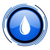 Wasser tropfen blau glänzend kreissymbol — Stockfoto