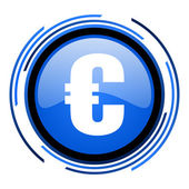 Euro circle blue glossy icon — Stock Photo
