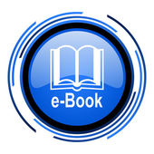 E-book circle blue glossy icon — Stock Photo