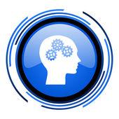 глава круг синий блестящий значок — Стоковое фото
