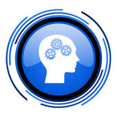 Hoofd cirkel blauwe glanzende pictogram — Stockfoto