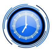 Uhrsymbol kreis blau glänzend — Stockfoto