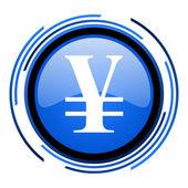 Yen circle blue glossy icon — Stock Photo
