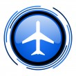 Plane circle blue glossy icon — Stock Photo