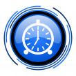 Stock Photo: Alarm clock circle blue glossy icon