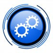 Gears circle blue glossy icon — Stock Photo