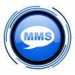 Mms circle blue glossy icon — Foto de stock #26331031