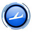 Plane circle blue glossy icon — Stock Photo #26331749