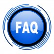 Faq circle blue glossy icon — Stock Photo