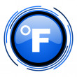 Fahrenheit circle blue glossy icon — Stock Photo