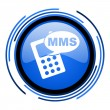 Mms circle blue glossy icon — Foto de stock #26333129