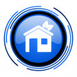 Home circle blue glossy icon — Stock Photo