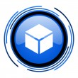 Box circle blue glossy icon — Stock Photo #26333885