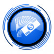 Money circle blue glossy icon — Stock Photo