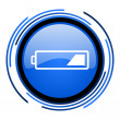 Battery circle blue glossy icon — Stock Photo