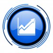 Histogram circle blue glossy icon — Stock Photo