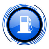 Fuel circle blue glossy icon — Stock Photo