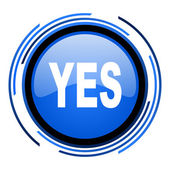 Yes circle blue glossy icon — Stock Photo
