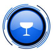 玻璃圆蓝色光泽图标 — 图库照片