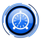 Alarm clock circle blue glossy icon — Stock Photo