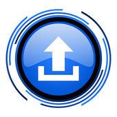 Upload blau glänzend kreissymbol — Stockfoto