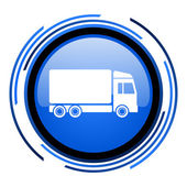 Delivery circle blue glossy icon — Stock Photo