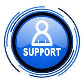Unterstützung blau glänzend kreissymbol — Stockfoto