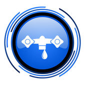 Water circle blue glossy icon — Stock Photo