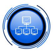 网络圈蓝色光泽图标 — 图库照片